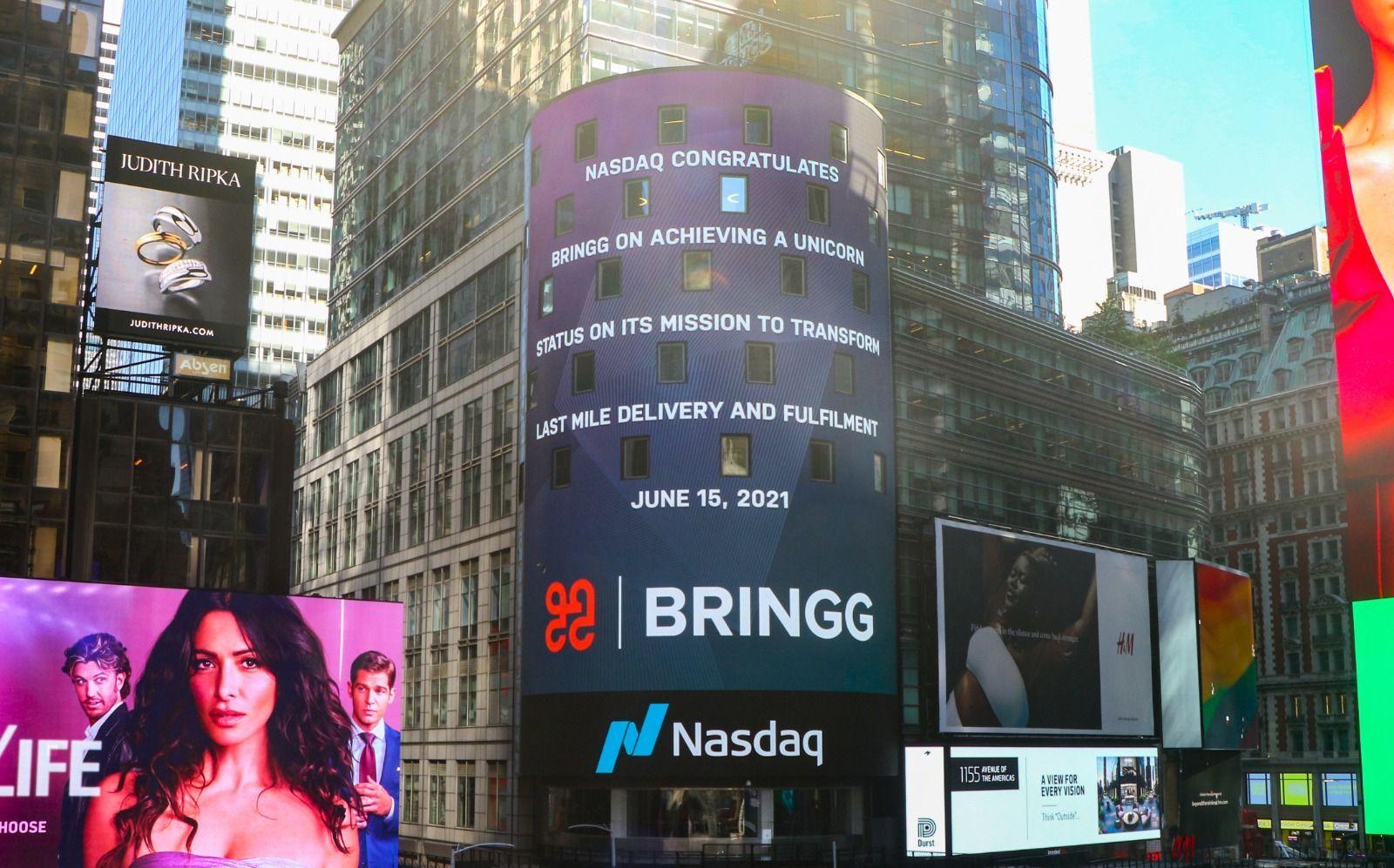 Cambridge Capital's Bringg on Nasdaq sign in Times Square