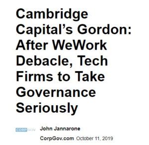 Cambridge Capital's Benjamin Gordon on WeWork Investment Debacle and Lessons for Corporate Governance