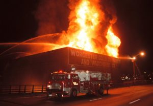 Cold storage warehouse on fire
